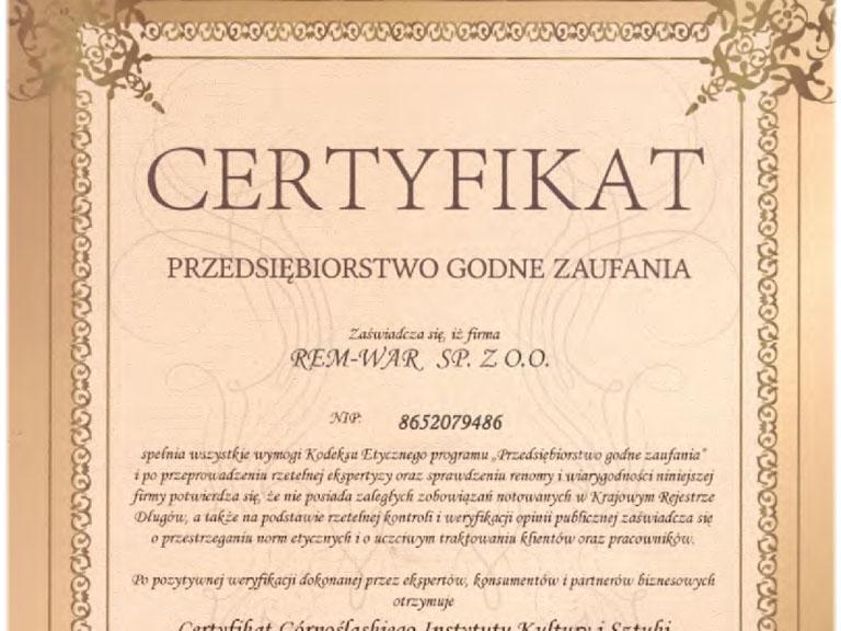 Certyfikat przedsiębiorstwa godnego zaufania